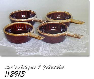 #2913 u2013 MCCOY POTTERY u2013 BROWN DRIP CASSEROLES (4) - $60.00  sc 1 st  Linu0027s Antiques & Brown Drip