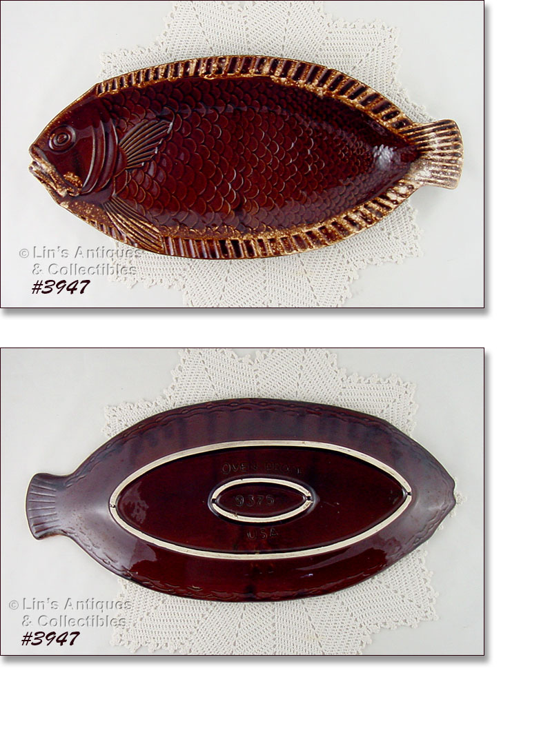 McCOY\u0027S FISH SHAPED PLATTERS ARE VERY DIFFICULT TO FIND \u2013 ESPECIALLY FROM THE BROWN DRIP DINNERWARE LINE! THIS LISTING HAS THE LARGE SIZE PLATTER (MATCHES ...  sc 1 st  Lin\u0027s Antiques & Brown Drip