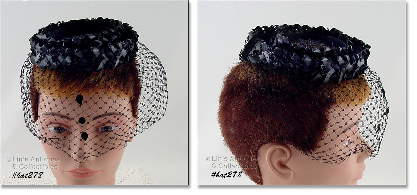 6d080f73e0e THIS IS THE MOST UNUSUAL NETTING VEIL HAT IN OUR INVENTORY! IT HAS 2  BRAIDED RAFFIA BANDS ACCENTED WITH BLACK VELVET RIBBON. THE VEIL HAS 3  BLACK TEAR DROPS ...