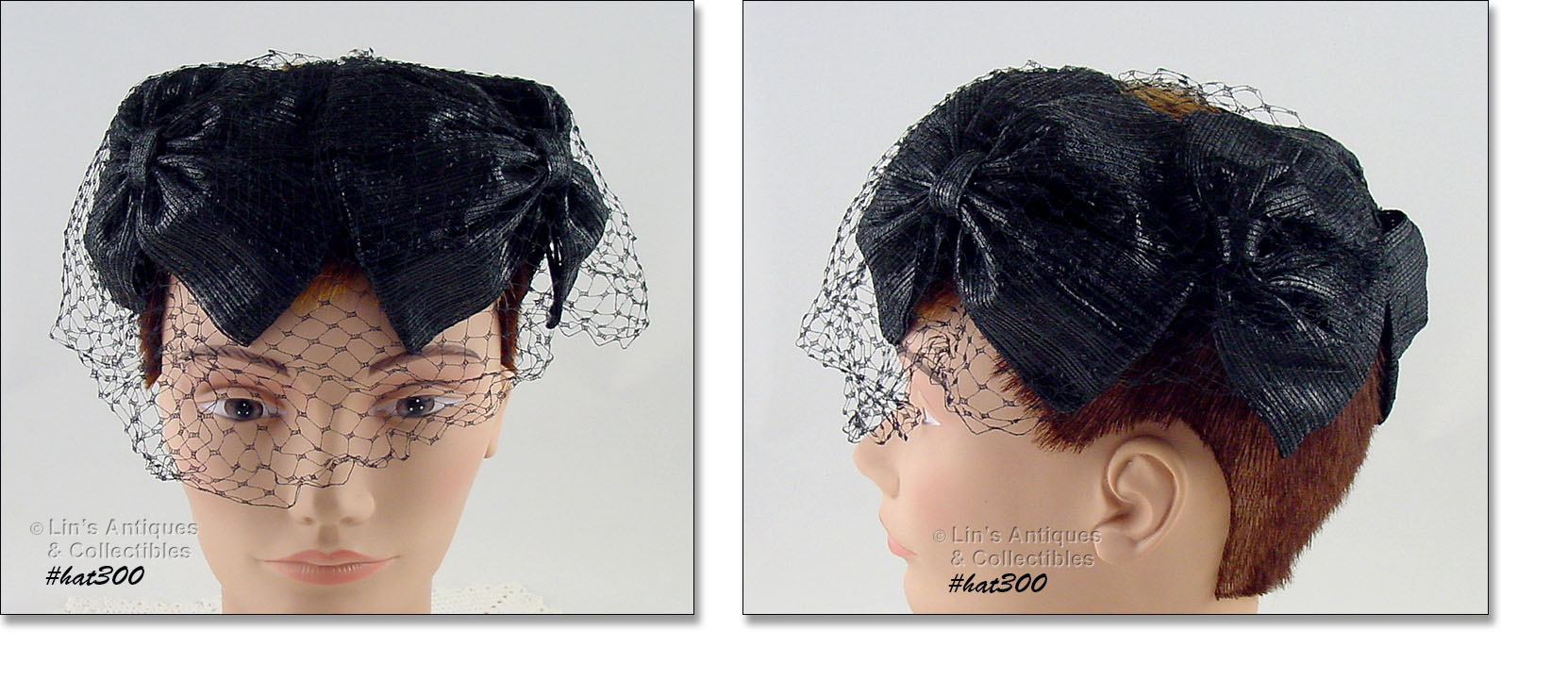 594db25f7ab BEAUTIFUL BLACK HAT WITH BLACK NETTING VEIL! HAT DESIGN IS OF JOINED LARGE  BLACK BOWS WITH ATTACHED VEIL – UNUSUAL AND REALLY NEAT!