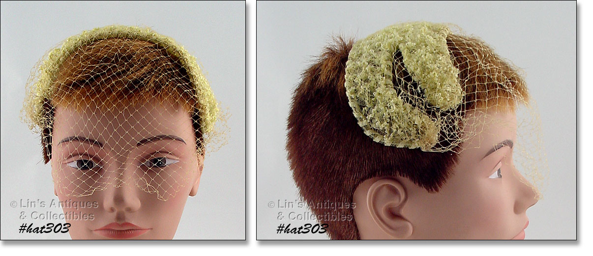 599472e1b4d THIS IS AN UNUSUAL HAT! IT S BAND STYLE WITH ATTACHED NETTING VEIL AND IT S  PALE YELLOW COLOR. VERY PRETTY!