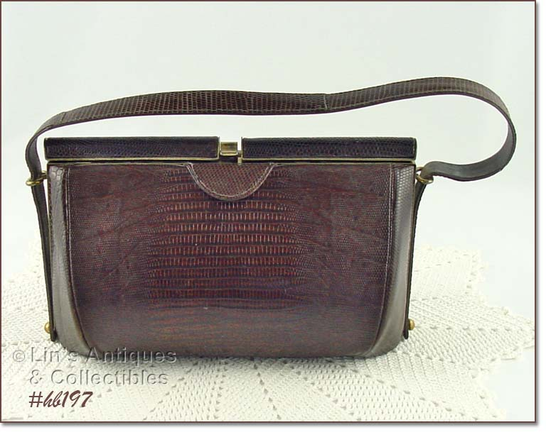 This Is An Extra Nice Vintage Handbag From The 1940 S Brown Reptile Has Top Closure Interior Tan Color And A Small Zippered