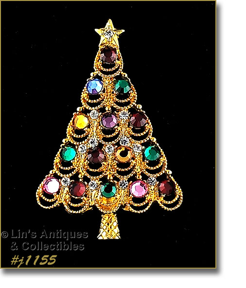 4d177d127ef #j1155 – EISENBERG ICE CHRISTMAS TREE PIN WITH MULTI COLOR RHINESTONES -  $48.00