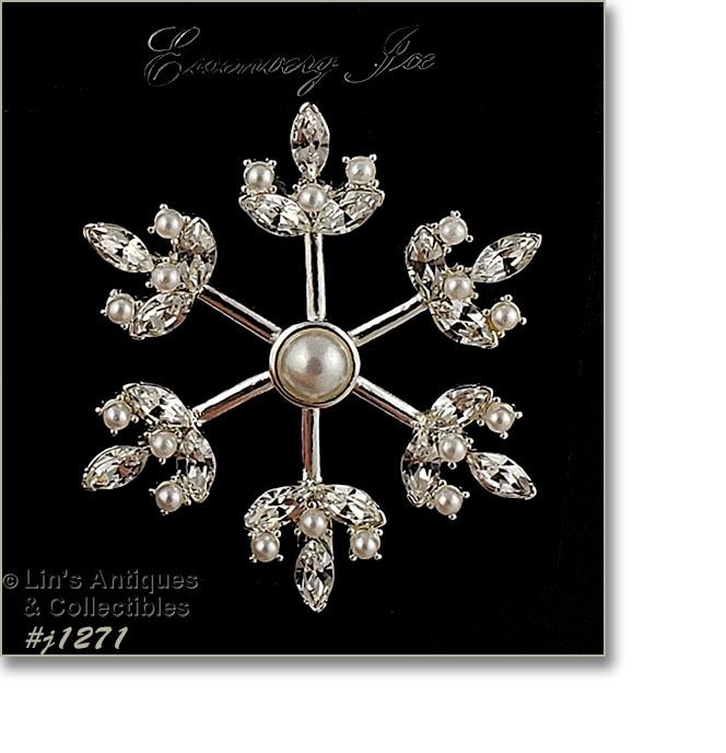 Unusual Eisenberg Original Brooch with Faux Pearls /& Clear Rhinestones